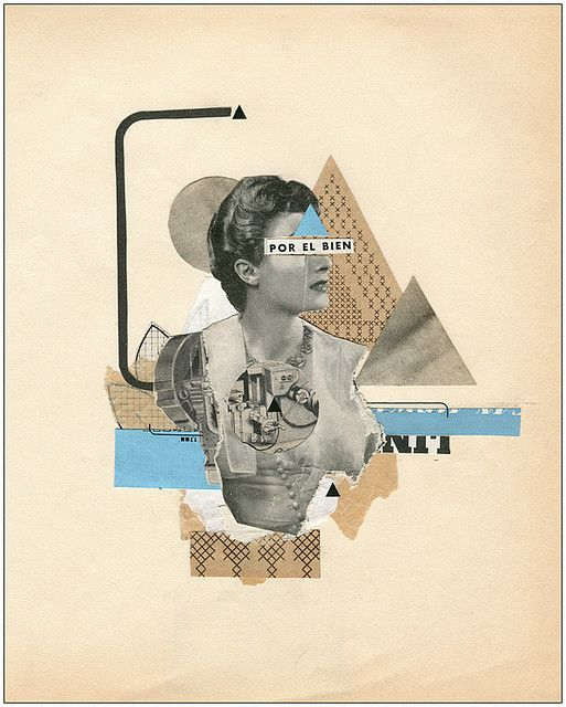 I love complexity within collage imagery. The incorporation of blue pops out in a very successful use of color.