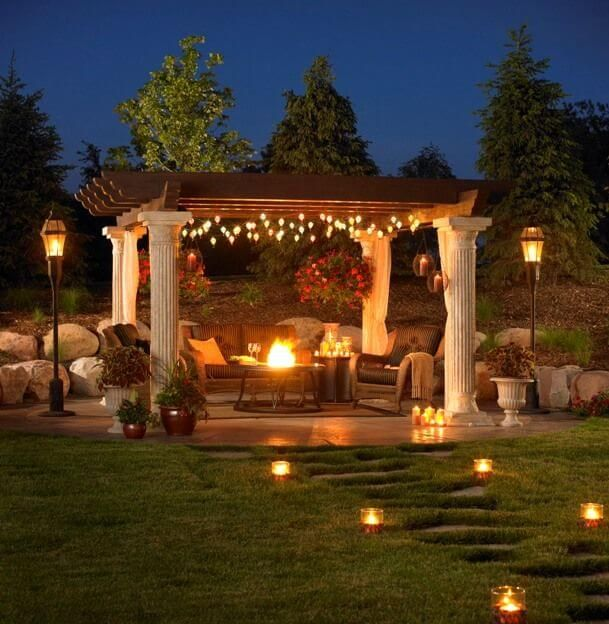 24 Cozy Backyard Patio ideas - Living Area on the Deck / Patio / Porch - Lighting - Twinkle / String Lights