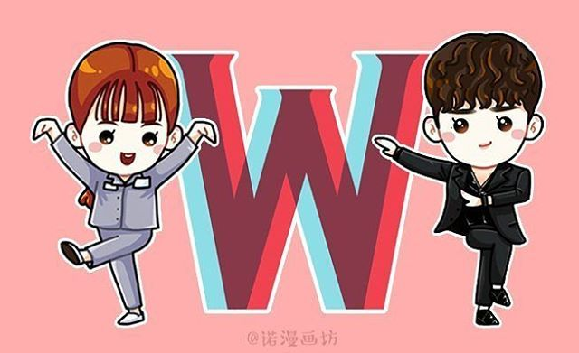 """Cr: As tagged [Fan Art] Lee Jong Suk & Han Hyo Joo - """"W-Two Worlds"""" BTS #이종석…"""