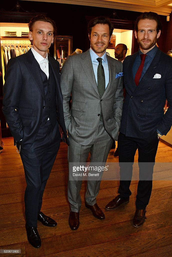 Jamie Campbell Bower, Paul Sculfor and Craig Mcginlay attend PORT Magazine's 5th anniversary dinner with dunhill London at at Alfred Dunhill Bourdon House on April 12, 2016 in London, England.