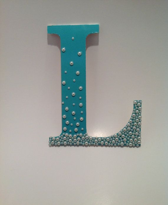 DIY Wooden Monogram Letter With Pearls