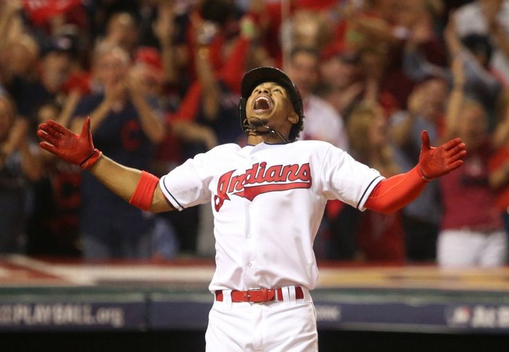 Cleveland Indians Francisco Lindor celebrates his 3rd inning home run in the ALDS  playoff game one between the Cleveland Indians and the Boston Red Sox played in Cleveland on Thursday, Oct. 6, 2016. Indians won game 1 of ALDS against the Red Sox  5-4 (Thomas Ondrey/The Plain Dealer)