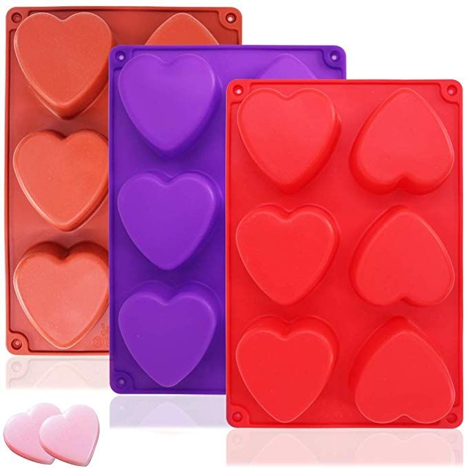 3 Packs 6 Cavities Heart Shaped Silicone Mold Purple Red Brown