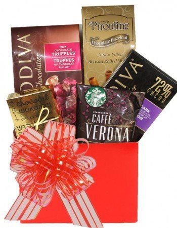 The Special Treat for Mom Gift Baskets includes Godiva gourmet chocolate, truffles, and special treats to celebrate Mother's Day.