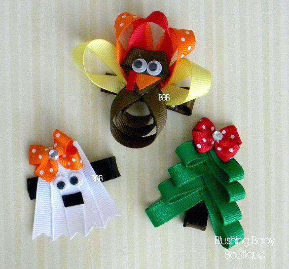Holiday Hair Clip Trio- Halloween- Thanksgiving- Christmas- Ghost- Turkey- Christmas Tree- on Etsy, $9.00