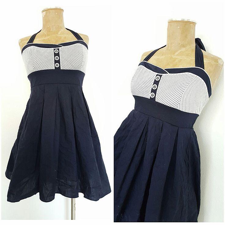 New Halter Top Mini Dress Size Small Navy Pinup Rockabilly Nautical Summer #Divine #Sundress #Festive