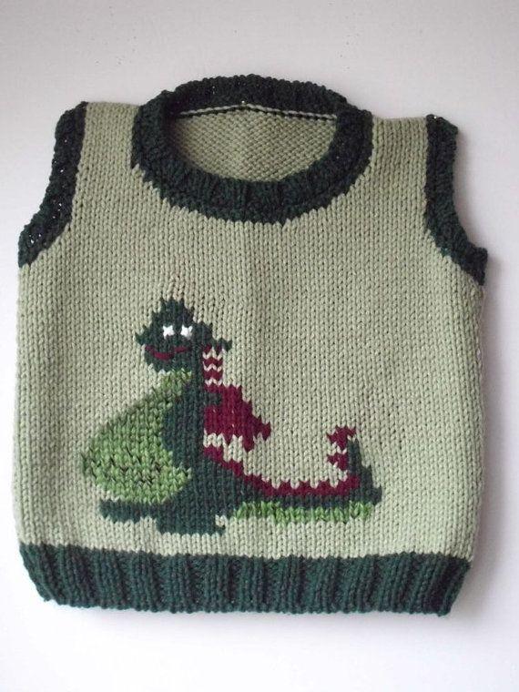 DINOSAUR Vest  /  Sweater. Toddler  2  3 yr .  by MarikaHandKnits