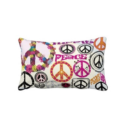 Flower Power Retro Peace & Love Hippie Symbols Pillows by zlatkocro