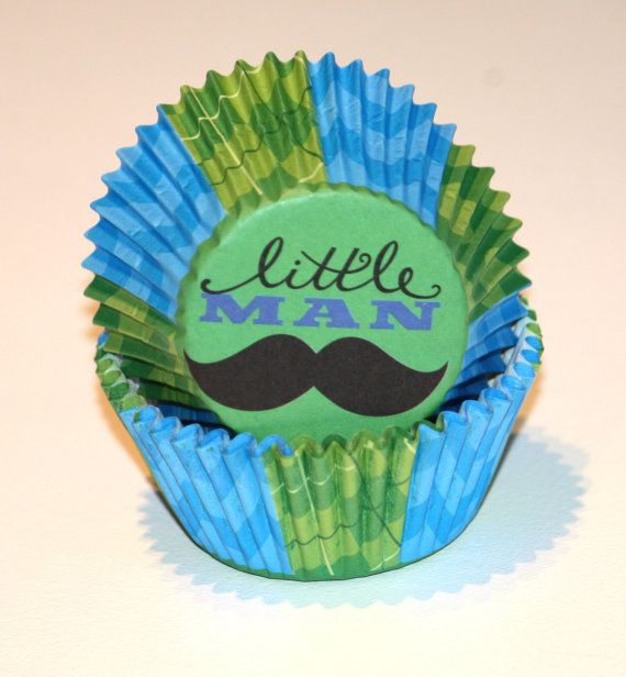 24 Little Man Cupcake Liners Mustache Cupcake Papers Chevron Baking Cups Boy Birthday Party Supplies Blue and Green