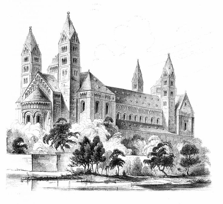 Speyer cathedral, Speyer, Germany, engraving ca 1859, August Esswein
