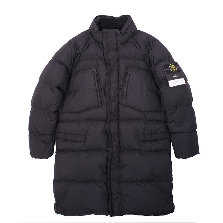 Beautifully crafted Stone Island Garment Dyed Crinkle Reps NY Down Long Coat.  - lightweight nylon rep  with an ultra tight weaving construction - fine down filling - resin coating makes the picee wind resistant and mildly water resistant - adjustable stow-away hood - the addition of a special agent to the dye formula making this piece anti-drop - multiple pockets / front zip & velcro fastening - made in Italy