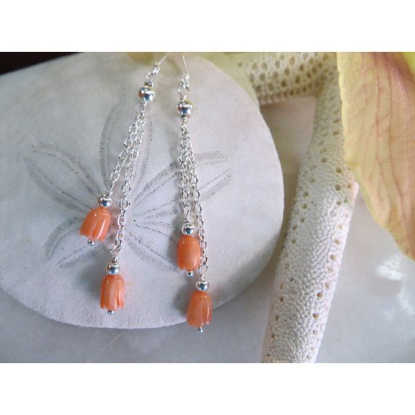 Coral Earrings, Dangle Earrings, Hand Carved Coral Flower Earrings,... (41 CAD) ❤ liked on Polyvore featuring jewelry and earrings