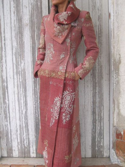 "Long blush colored coat from Indalia Fashion which features a, ""Unique blend of Italian hand tailoring with Asian and Italian fabrics"""