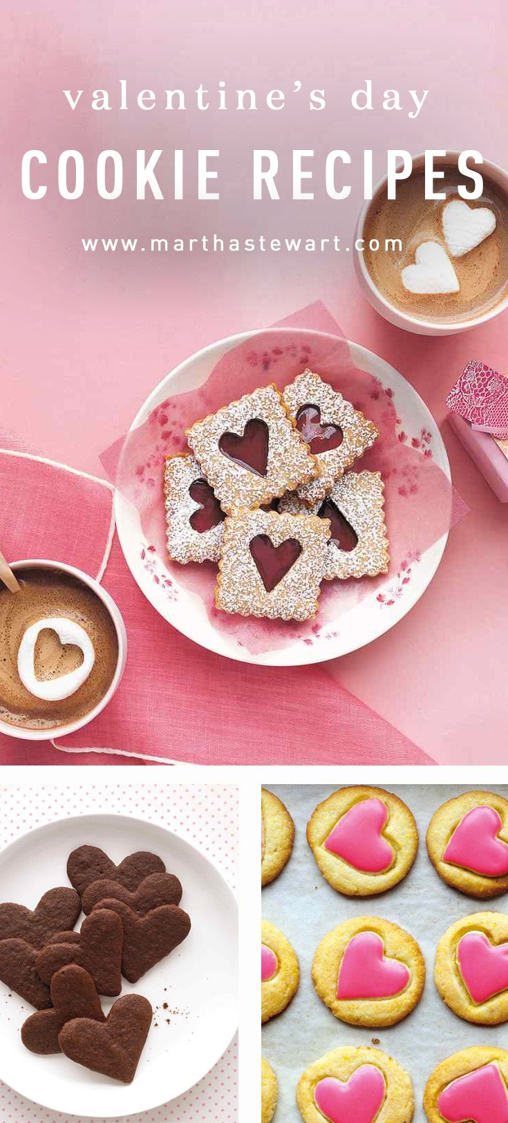"Valentine's Day Cookie Recipes | Martha Stewart Living - Surprise your valentine with one of these homemade treats as a sweet way to say ""I love you."" Choose from heart-shaped brownies, conversation cookies, and more."