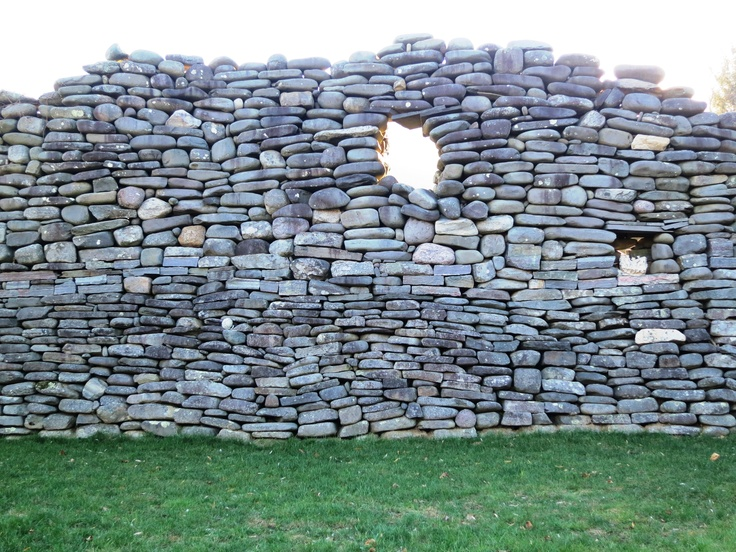 Dry stone wall built by hand. Rock Star Meadow sculptural environment. At Lake Hill, Woodstock, NY