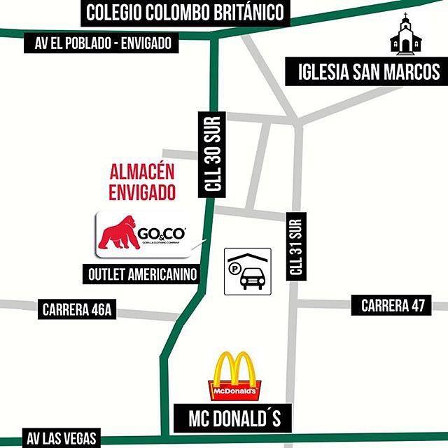 Ven a #GoCo Envigado. Estamos en la calle de la buena mesa. Te esperamos de lunes a sábados desde las 10am hasta las 7pm. Somos #LaMarcaDelGorila. Compra online en www.gococlothing.com y recibe tu pedido en cualquier parte de Colombia