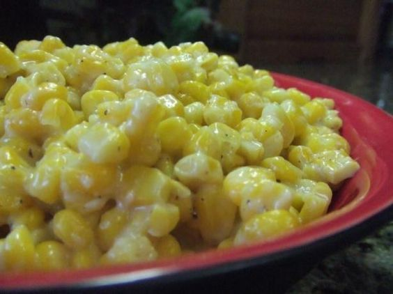 Mama s Skillet Corn from Food.com:   								Mama used to make this as soon as the fresh corn came in. It is similar to creamed corn in sweetness but the kernels are left whole. A great summertime dish. When my boys whine enough in the winter I will make this with frozen corn.