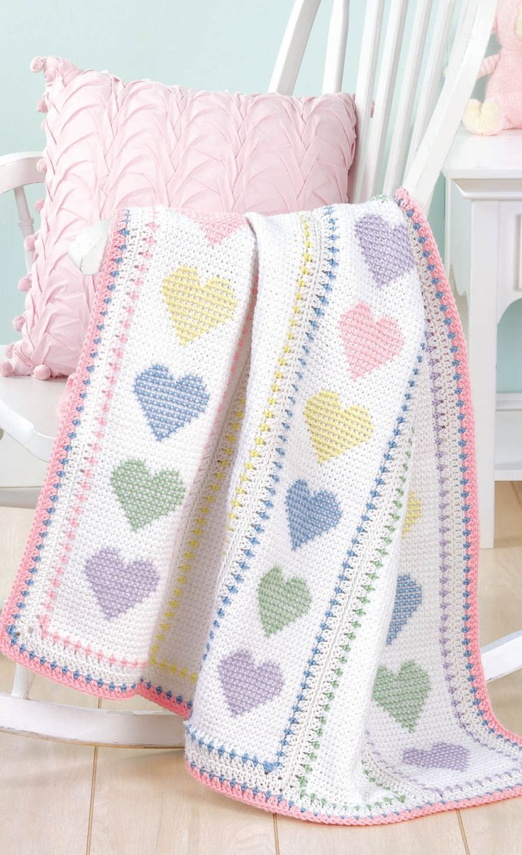Blankets for Every Baby - Sweet gifts for a new arrival, the designs in Blankets for Every Baby have the timeless appeal of classic styles plus a fresh feel with updated colors and special details..  Eight blankets by Glenda Winkleman to crochet using medium weight yarn: Confetti Stripes, Pathways, Color Blocks, Baby Bouquet, Four-Square Granny, Cross Stitch Hearts, Soft-Touch Stripes, and Sherbet Dream.