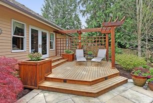 Transitional Deck with Fence, exterior tile floors, Hinkley Lighting Horizontal Deck Light No. 1546  beautiful deck and trellis