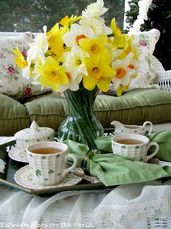 Spring Inspired Tea Party with daffodils as a centerpiece from Between Naps on the Porch.