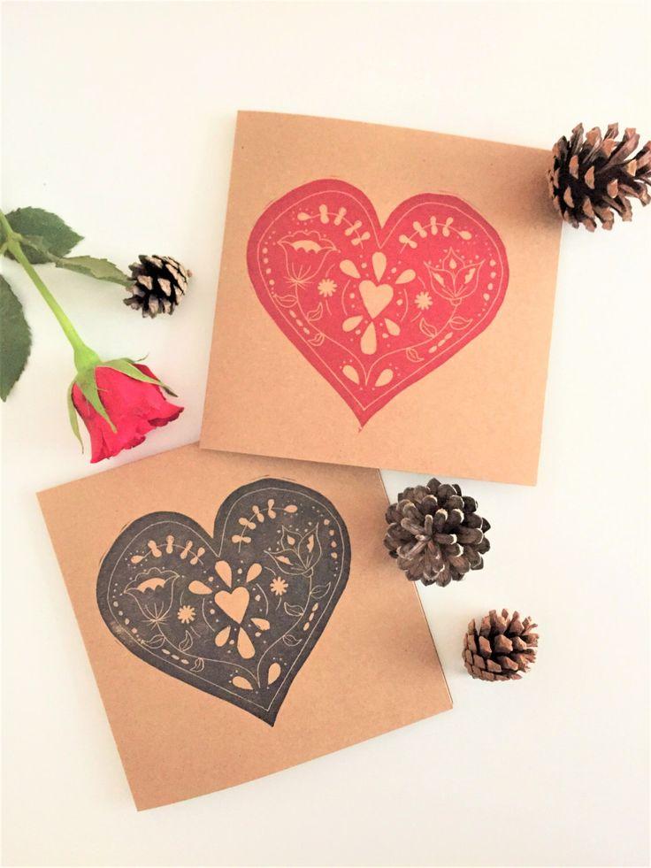 Folk Heart Card Hand Printed Lino Print Greeting Valentine Love Heart Card Gift by TheBlackPugPress on Etsy https://www.etsy.com/uk/listing/487906358/folk-heart-card-hand-printed-lino-print