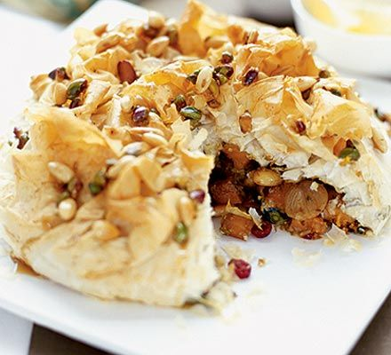 A delicious Vegetarian Moroccan Spiced Pie that would bring the Moroccan culture to your home through this amazing recipe. Explore more recipes on OfRecipes