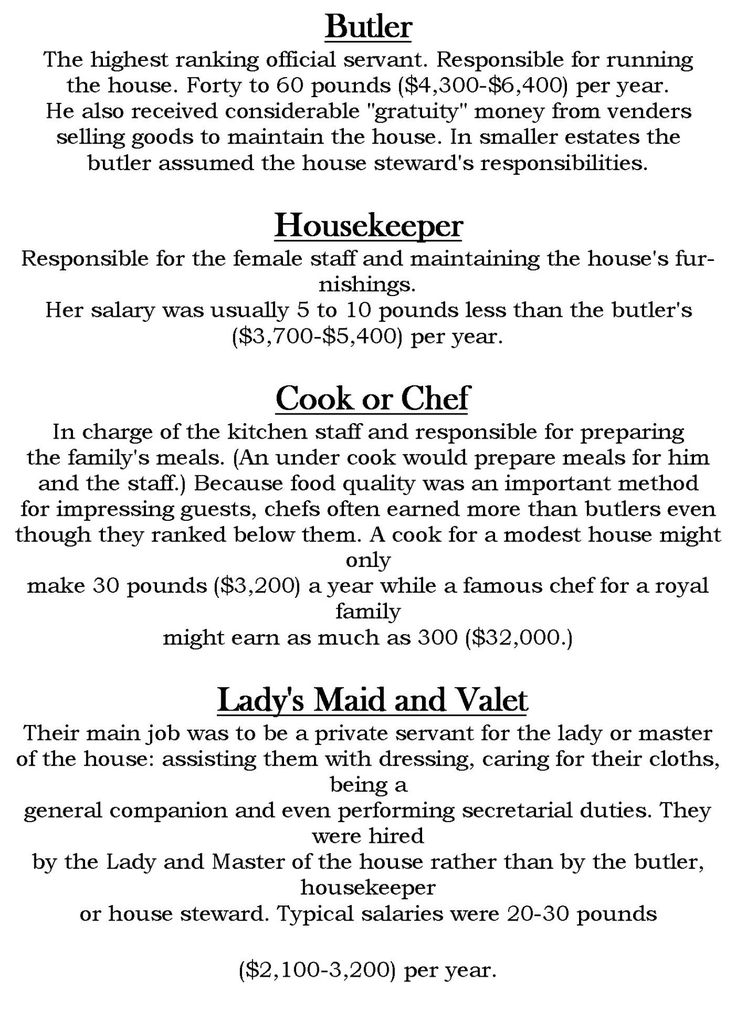Victorian Servant Hierarchy READ MORE HERE