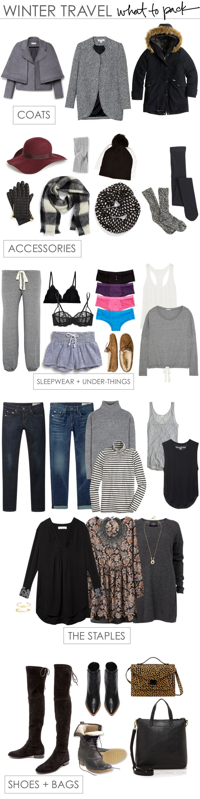 Winter Travel Packing List - What to Pack for a Vacation Somewhere Cold. Click through for the details. | glitterinc.com | @glitterinc