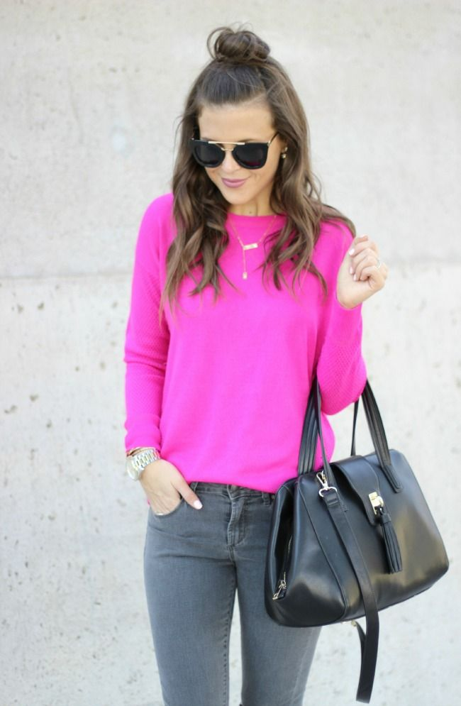 Sophistifunk by Brie Bemis Rearick | A Personal Style + Beauty Blog: Hot Pink Sweater