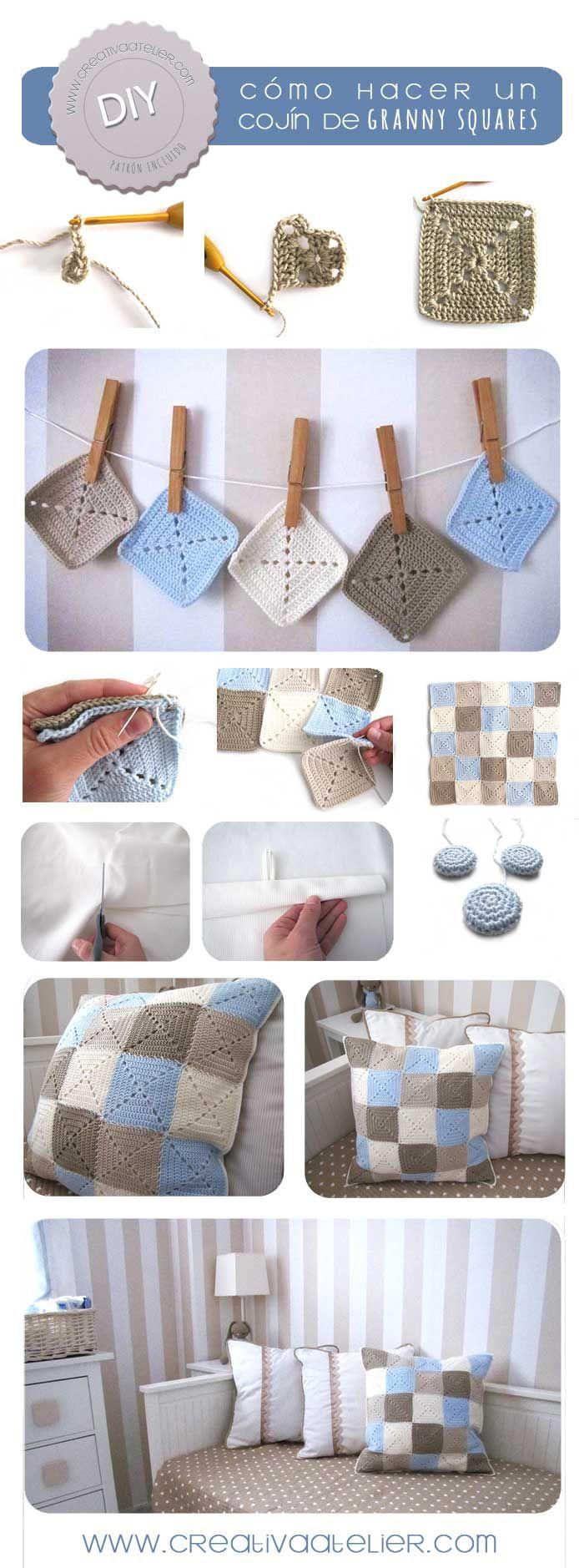 Tutorial para hacer un cojín de Granny Squares #crochet #DIY #grannysquare