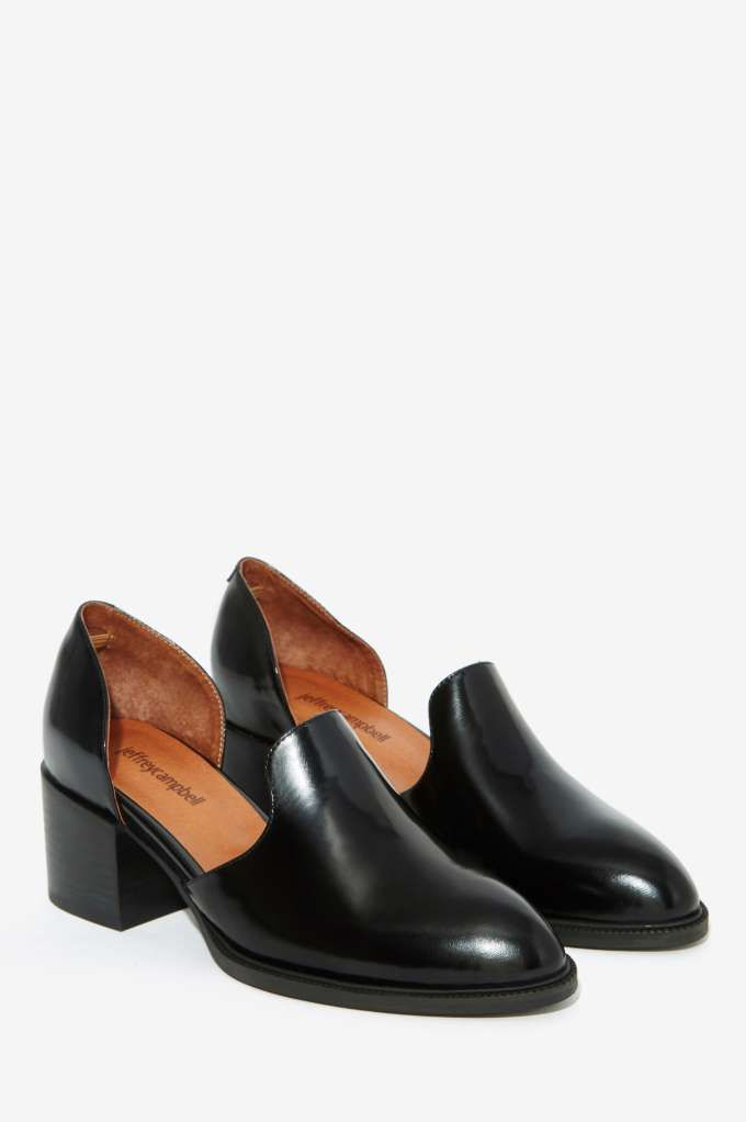 The Appeal loafer by Jeffrey Campbell comes in black leather and features cutout sides