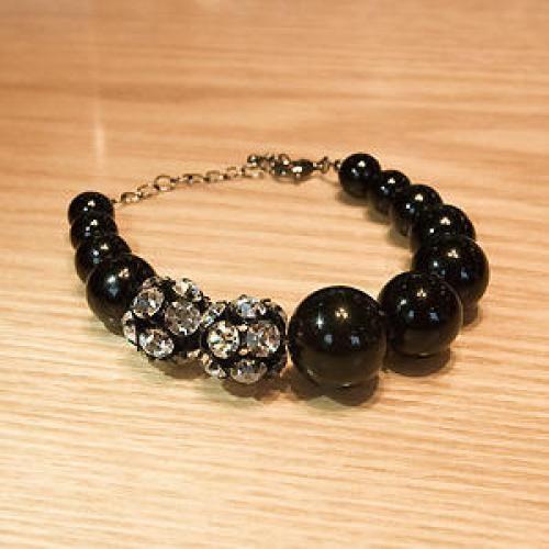 Rhinestone-Trim Oversized Ball Bracelet