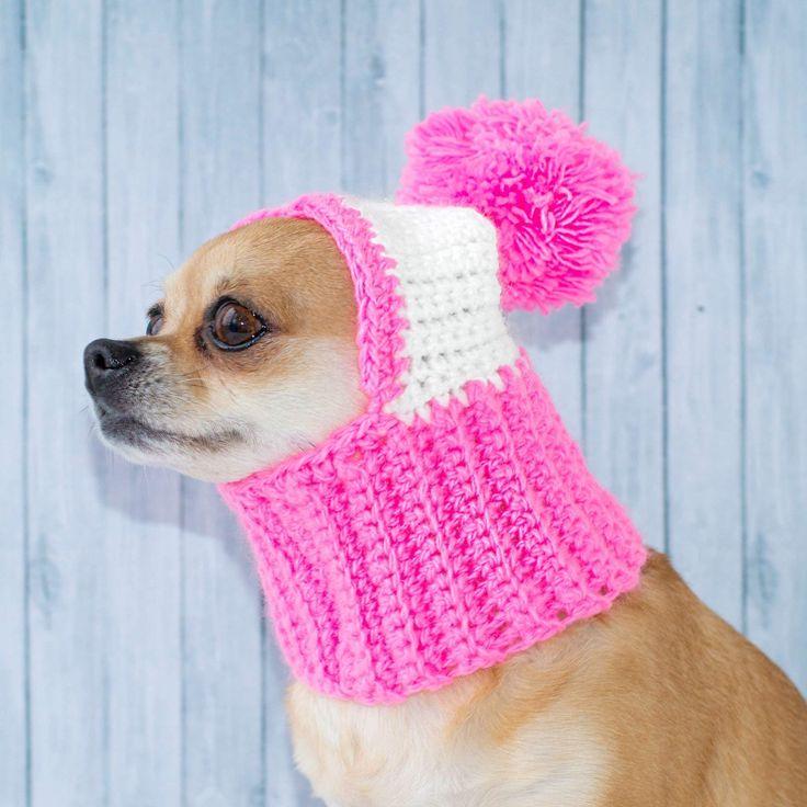 Pink Dog Hat Cozy Crochet Dog Hat Warm Winter Dog Hat