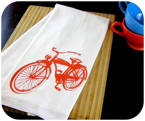 blue and orange retro kitchens | kitchen towel orange tea towel bike cute screen print vintage kitchen ...