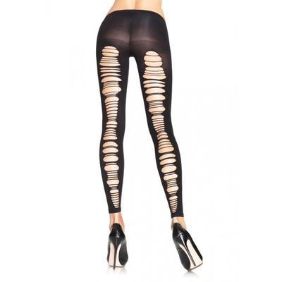 Shredded Opaque Footless Tights Black By Leg Avenue at Hell's Boutique.  Spandex shredded back opaque footless tights made from 88% NYLON 12% SPANDEX.  This item ships to US addresses only!