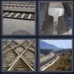 4 Fotos 1 Palabra Vías de Tren, Partes Vía Ferrea, Trozos vías de tren, Carretera, campo, pasto - Soluciones 4 Letras