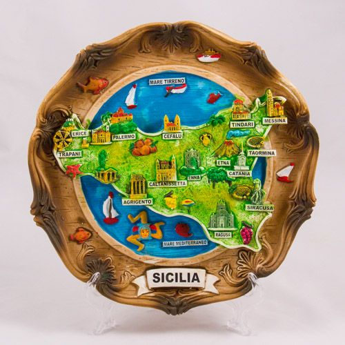 Souvenir Plate: Italy. Map of Sicily. Type 2. Diameter 22 cm