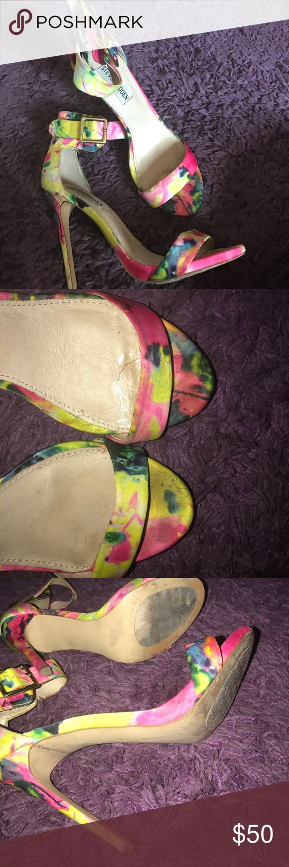NEON SANDAL HEELS Steve Madden ; colors: neon green, pink, yellow blue condition: worn 3 times (Used but good) see pictures please Steve Madden Shoes Sandals
