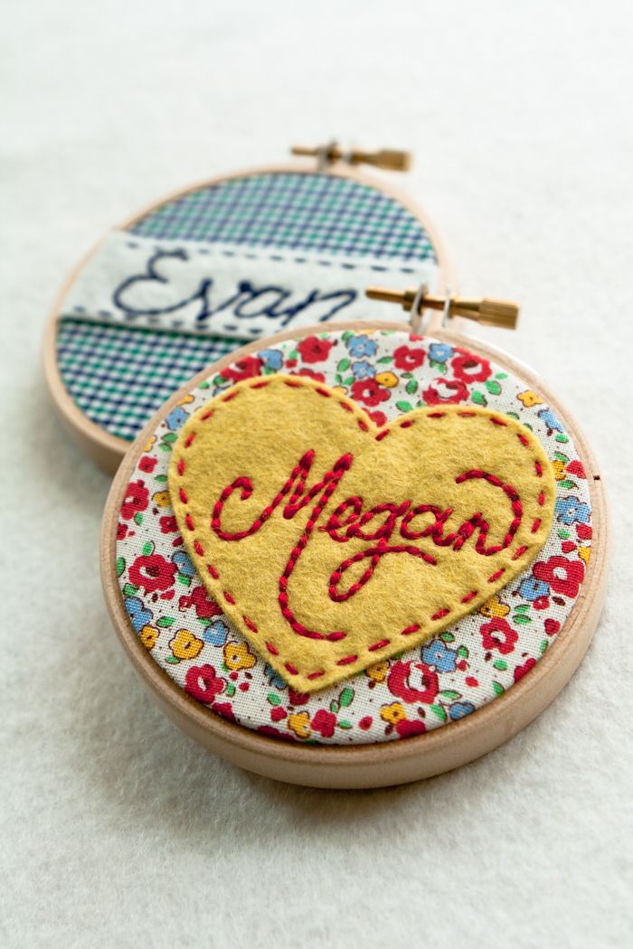 Embroidered Names in mini hoops!