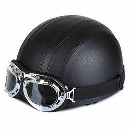 2016 casco de motocicleta de cuero cubierto Halley de la motocicleta cascos de cuero genuino cubría la mitad de la cara Casco Casco de la vendimia + anteojos del MX casco de motocicleta de cuero cubierto baratos