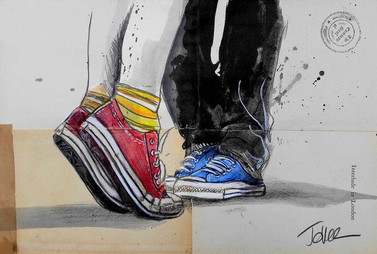 Loui Jover Art #Red + Blue Shoes
