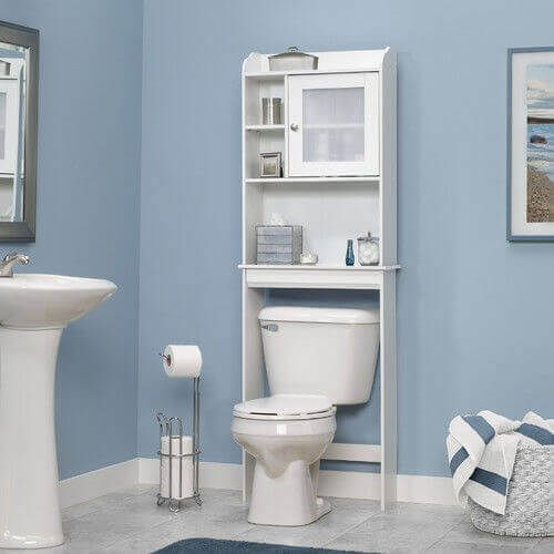 Functional Space Saver Furniture With Bathroom Etagere Amazing Bathroom Etagere And Toilet With Pedestal Sink Also Bathrooom Mirror And Tile Flooring