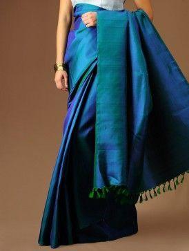 Blue-Green Kanchipuram Silk Saree