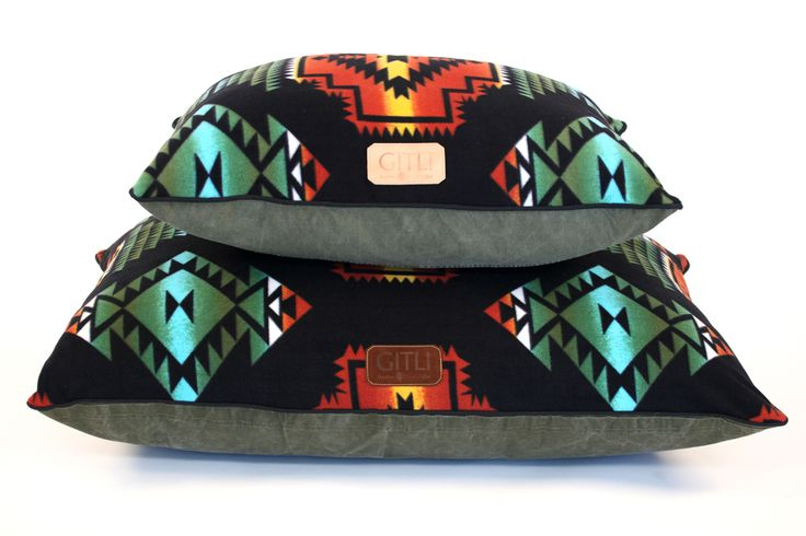 Southwestern dog bed with black fleece top and canvas bottom by Gitli Goods