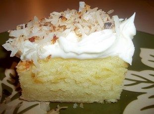Coconut Cream Cheese Sheet Cake - Cream together 2 sticks butter, 6 oz cream cheese, 6 eggs, 2 c sugar, 1 tsp vanilla.  Add  2 1/4 c flour and 1/4 c coconut milk.  Bake in sprayed 9x13 pan at 350 for 40 min. Ice with 1/4 c butter, 4 oz cream cheese, 1/2 tsp vanilla, 1.5 c powdered sugar. Garnish with 1/2 c toasted coconut. (Can dbl icing if desired)