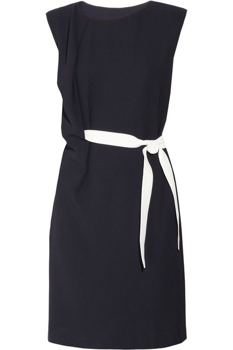 Draped crepe dress - the vertical ruffle and the white belt draw attention away from the tummy area.
