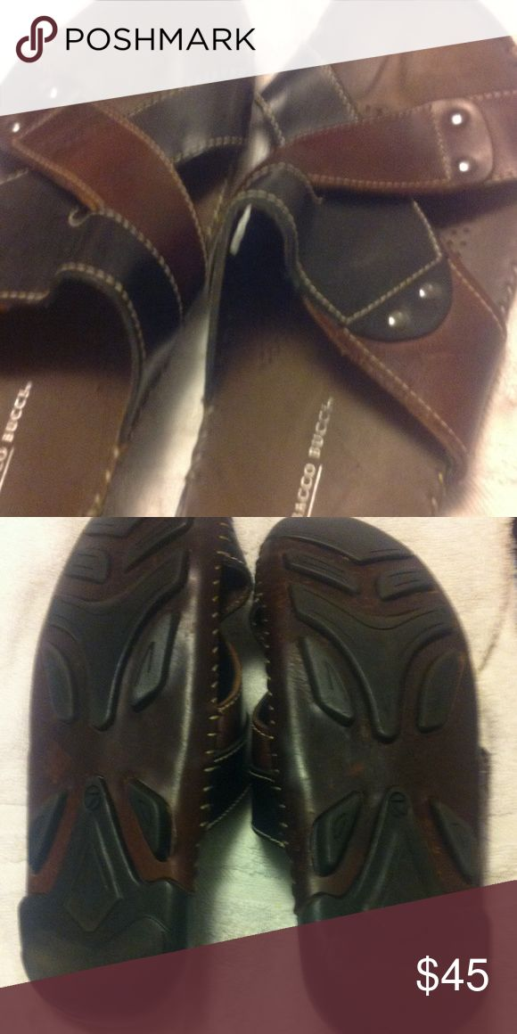 Mens sandals Brown/black Italian leather Bacco Bucci Shoes Loafers & Slip-Ons