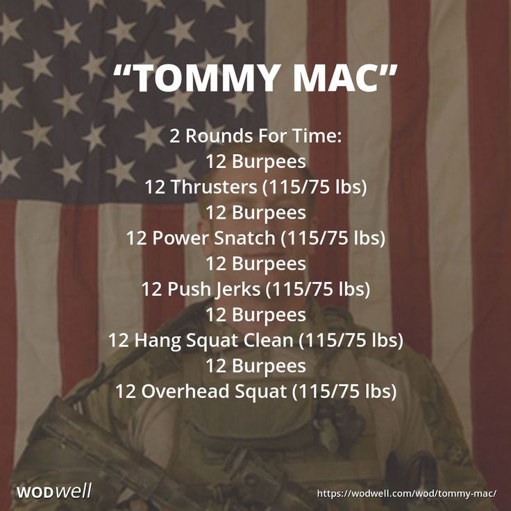 """Tommy Mac"" WOD - 2 Rounds For Time: 12 Burpees; 12 Thrusters (115/75 lbs); 12 Burpees; 12 Power Snatch (115/75 lbs); 12 Burpees; 12 Push Jerks (115/75 lbs); 12 Burpees; 12 Hang Squat Clean (115/75 lbs); 12 Burpees; 12 Overhead Squat (115/75 lbs)"