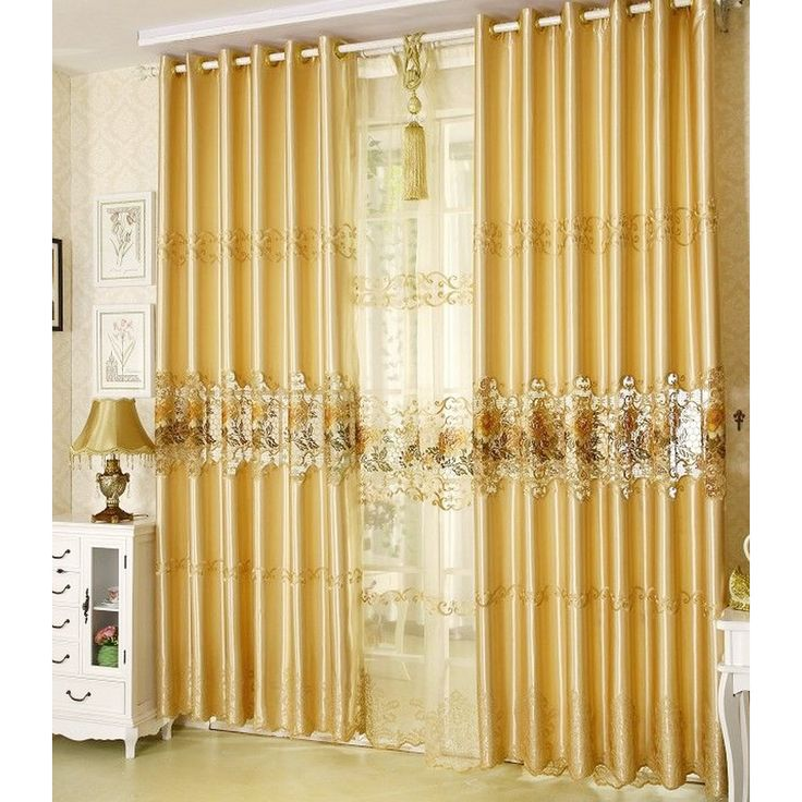 Gold Embossed Floral Gorgeous Luxury Shabby Chic Curtains