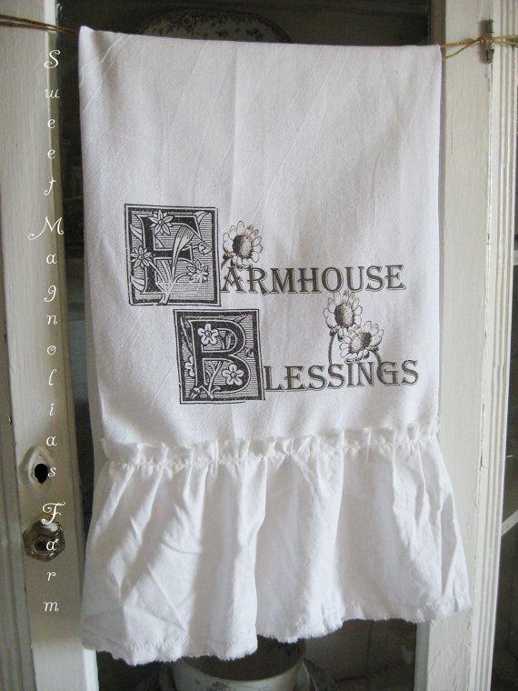 Flour Sack Kitchen Towel Farmhouse Blessings by SweetMagnoliasFarm, $14.50